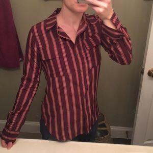 Satin Striped Button Down Shirt